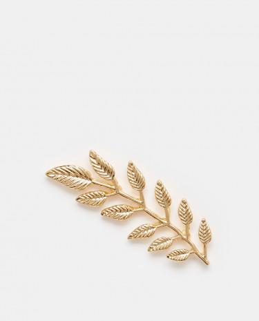 Fashion Shop - Reclaimed Vintage Leaf Brooch - Gold