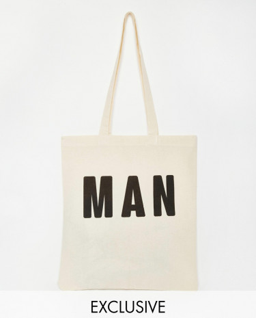Fashion Shop - Reclaimed Vintage Man Tote Bag - Beige