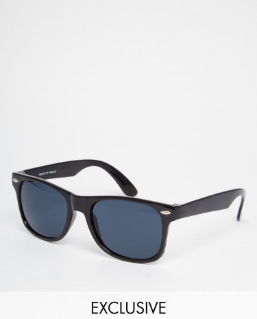 Fashion Shop - Reclaimed Vintage Wayfarer Sunglasses - Black