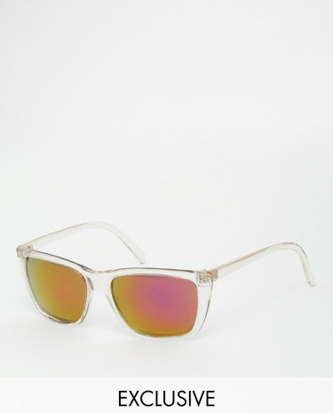 Fashion Shop - Reclaimed Vintage Wayfarer Sunglasses - Clear