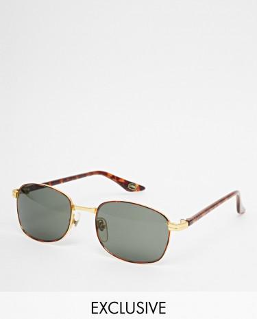 Fashion Shop - Reclaimed Vintage Wayfarer Sunglasses - Gold