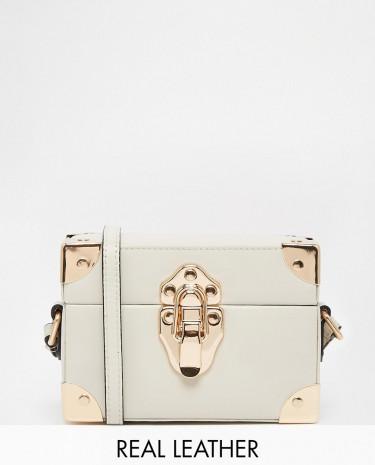 Fashion Shop - Reiss Box Bag with Luggage Style Hard Wear Detail - Cream