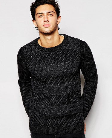 Fashion Shop - Selected Homme Stripe Textured Knitted Jumper - Black