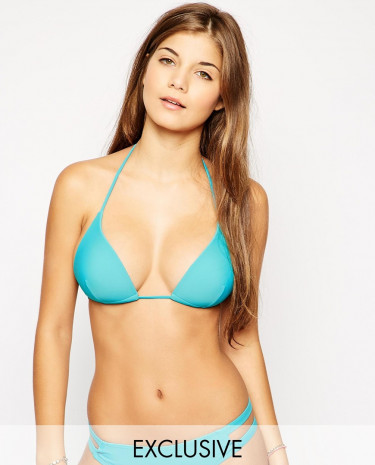 Fashion Shop - South Beach Exclusive to ASOS Amber Mix and Match Moulded Triangle Bikini Top - Blue