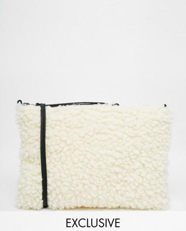 Fashion Shop - Story of Lola Faux Shearling Cross Body Bag in Cream - Cream