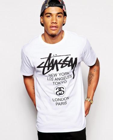Fashion Shop - Stussy T-Shirt With World Tour Print - White