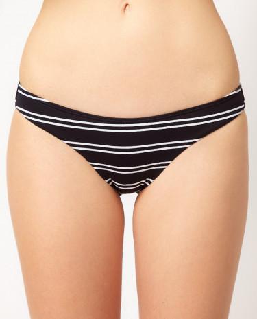 Fashion Shop - Sunseeker Stripe Classic Hipster Bikini Bottom - Blackwhite