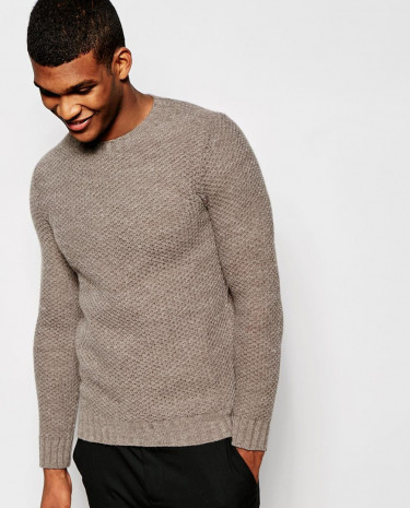 Fashion Shop - United Colors of Benetton Waffle Knit Jumper - Beige