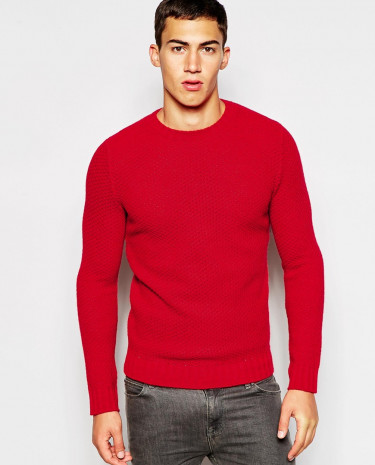 Fashion Shop - United Colors of Benetton Waffle Knit Jumper - Red