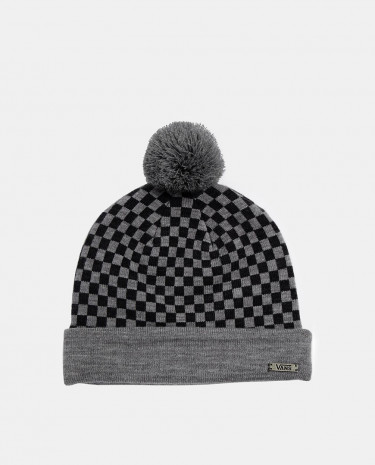 Fashion Shop - Vans Checkerboard Bobble Beanie - Heatherblack