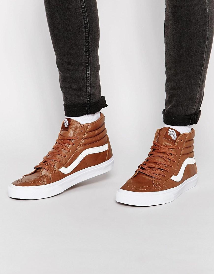 Fashion Shop Vans Sk8-Hi Leather Trainers - Brown Fashion Shop 21fc10ba4121