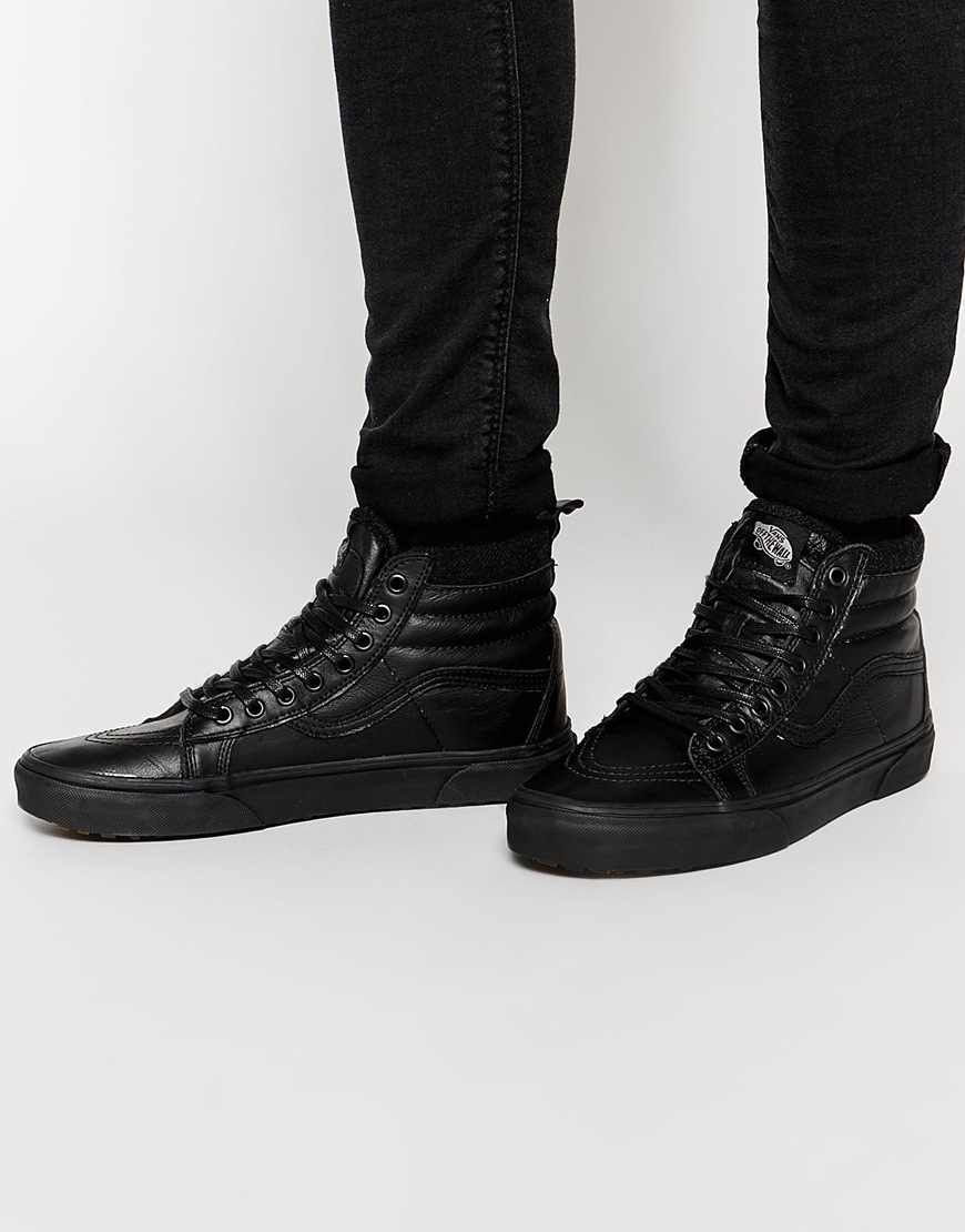 90aff28ff19 Fashion Shop Vans Sk8-Hi Leather Winter Trainers - Black Fashion Shop