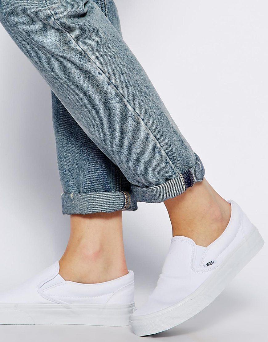 971975c489c90a Fashion Shop Vans True White Classic Slip On Trainers - White ...