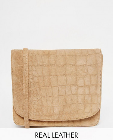 Fashion Shop - Warehouse Suede Croc Crossbody - Tan