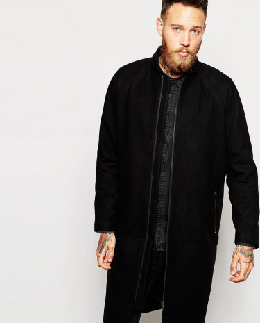 Fashion Shop - Weekday Overcoat Mod Long Oversized Wool Zip Pockets - Black