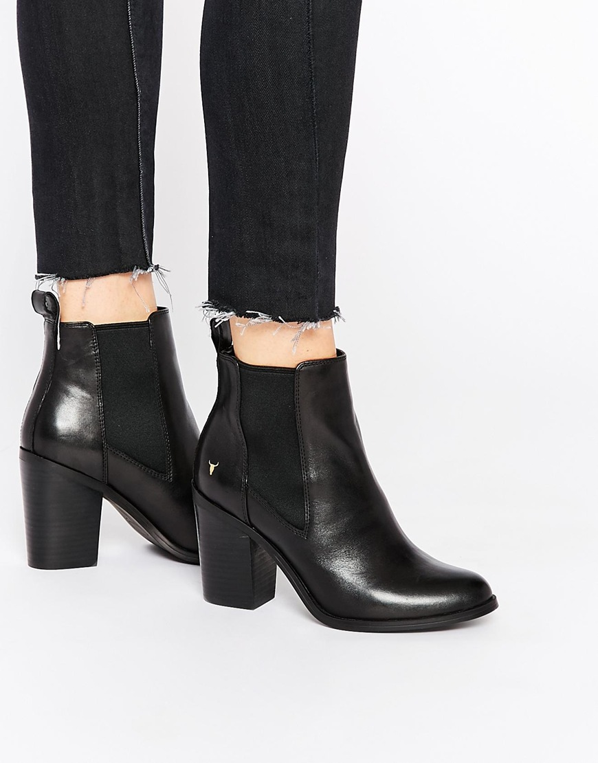 heeled ankle boots black leather