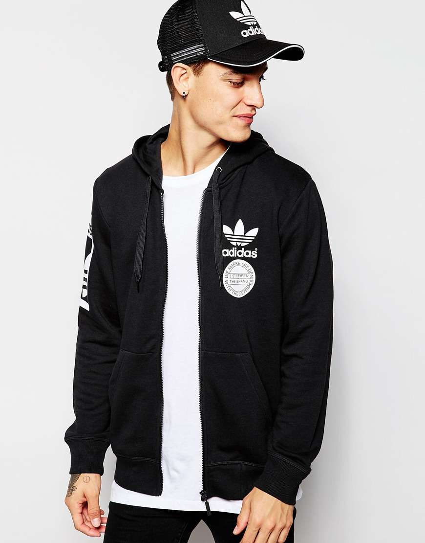 Fashion Shop Adidas Originals Graphics Zip Up Hoodie Ab8030 Black