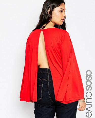 Fashion Shop - ASOS CURVE 70's Split Back Top in Crepe - Red