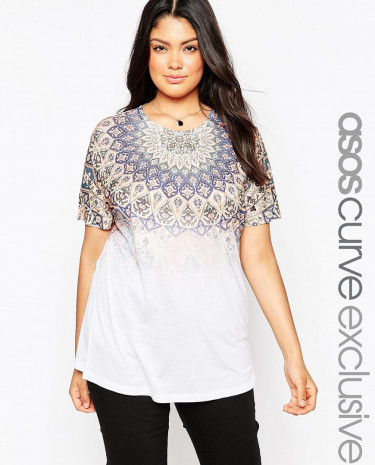 Fashion Shop - ASOS CURVE T-Shirt In Faded Folk Print - Multi