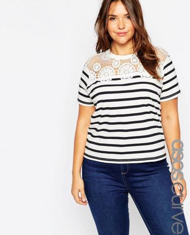 Fashion Shop - ASOS CURVE T-Shirt in Stripe with Crochet Trim - Blackwhite