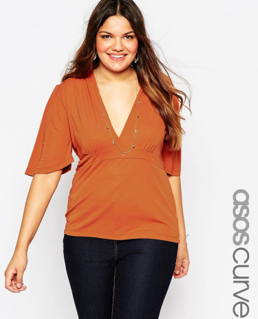 Fashion Shop - ASOS CURVE Top with V Neck and 70's Sleeve - Tobacco