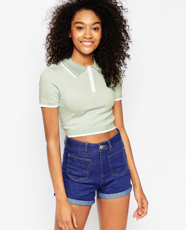 Fashion Shop - ASOS Cropped Polo Tee In Knit - Mint