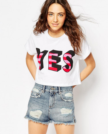 Fashion Shop - ASOS Cropped T-Shirt With Yes Print - White