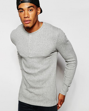 Fashion Shop - ASOS Extreme Muscle Long Sleeve T-Shirt In Grey Stretch Rib Jersey - Greymarl