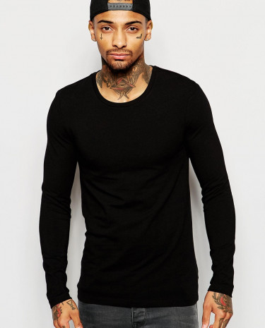 Fashion Shop - ASOS Extreme Muscle Long Sleeve T-Shirt With Crew Neck - Black