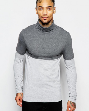 Fashion Shop - ASOS Extreme Muscle Long Sleeve T-Shirt With Roll Neck And Colour Block - Charcoalgreymarl
