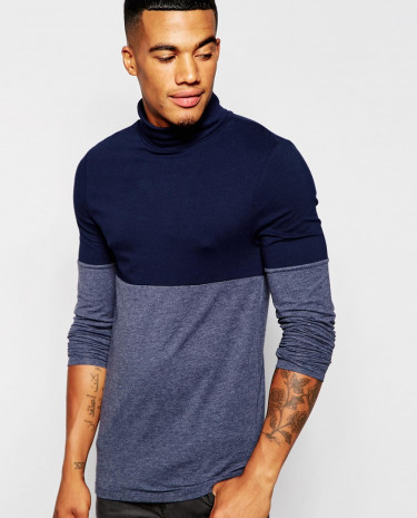 Fashion Shop - ASOS Extreme Muscle Long Sleeve T-Shirt With Roll Neck And Colour Block - Navynavymarl