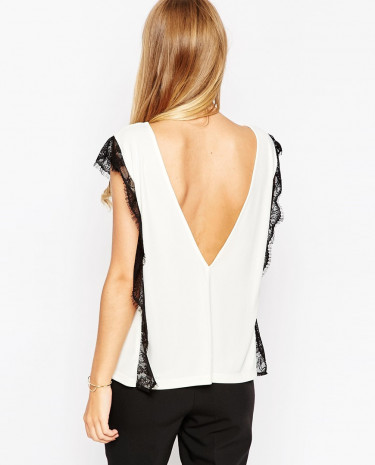 Fashion Shop - ASOS Lace Panel Workwear Top - Creamblack