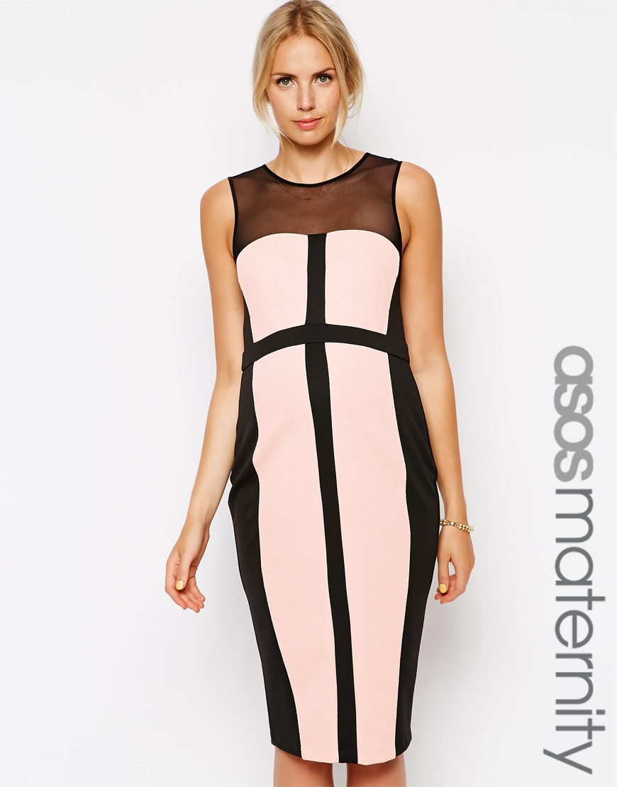 d2dca212055a2 ASOS Maternity Textured Bodycon Dress With Panelled Detail – Nudeblack