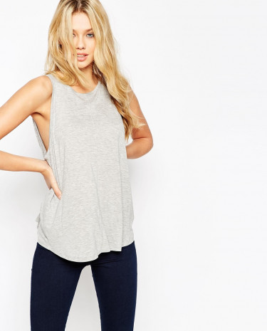 Fashion Shop - ASOS Swing Singlet with Drape - Grey