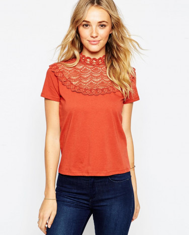 Fashion Shop - ASOS T-Shirt With Crochet And High Neck - Rust