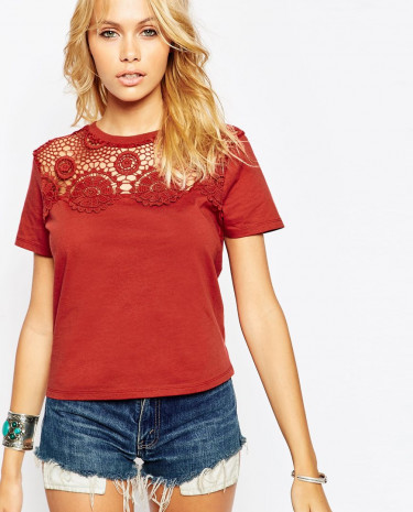Fashion Shop - ASOS T-Shirt With Crochet Neck Trim - Red