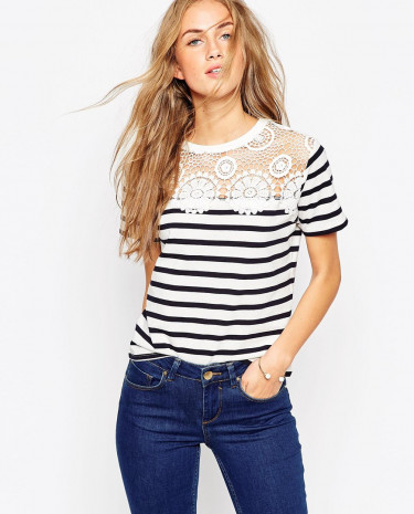 Fashion Shop - ASOS T-Shirt With Crochet Neck Trim in Stripe - Whitenavy