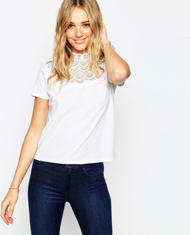 Fashion Shop - ASOS T-shirt with Crochet and High Neck - White