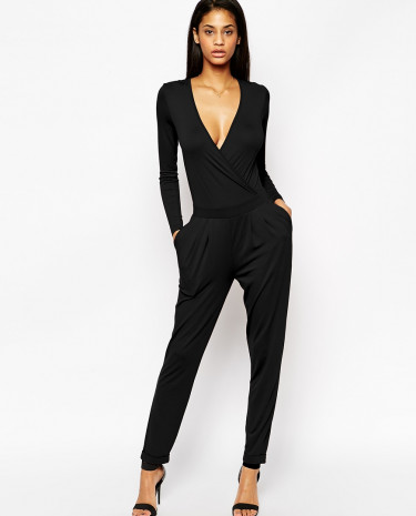 Fashion Shop - ASOS Wrap Front Jumpsuit With Long Sleeves - Black
