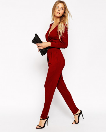 Fashion Shop - ASOS Wrap Front Jumpsuit with Long Sleeves - Rust
