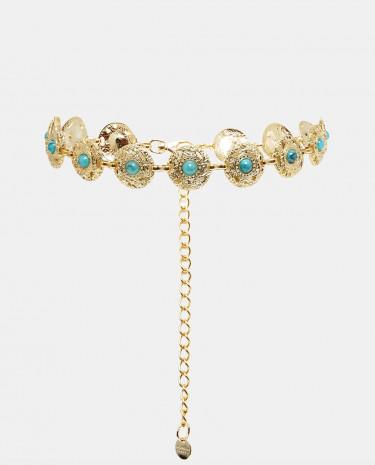 Fashion Shop - Black & Brown Turquoise Disc Belt - Gold