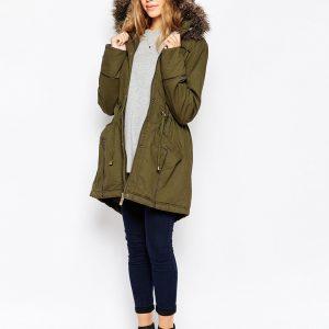 Fashion Shop - Brave Soul Cotton Twill Parka With Oversized Fur Trimmed Hood - Khaki