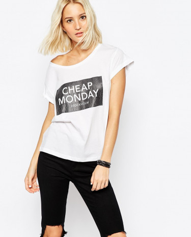 Fashion Shop - Cheap Monday Cracked Logo Boxy T-Shirt - White
