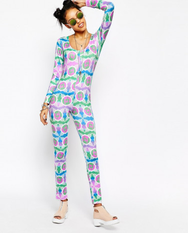 Fashion Shop - Kuccia Low Back Long Sleeve Jumpsuit Unitard In All Over Ying Yang Print - Multi