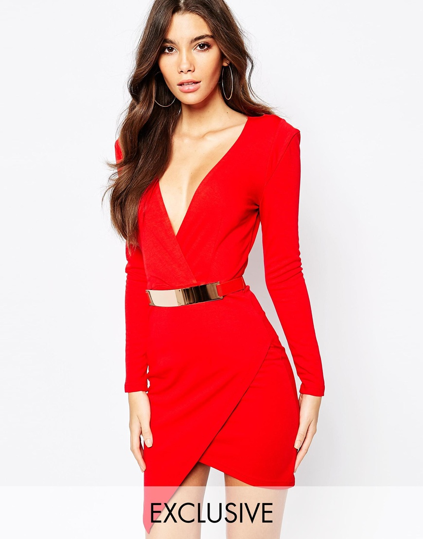 Fashion Shop - NaaNaa Plunge Neck Belted Pencil Dress With Wrap Skirt - Red b350cdb8606a
