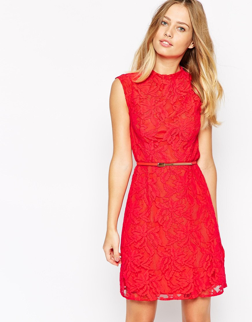 ad9e8a02adc0 Fashion Shop Oasis Lace Dress With Belt - Red Fashion Shop
