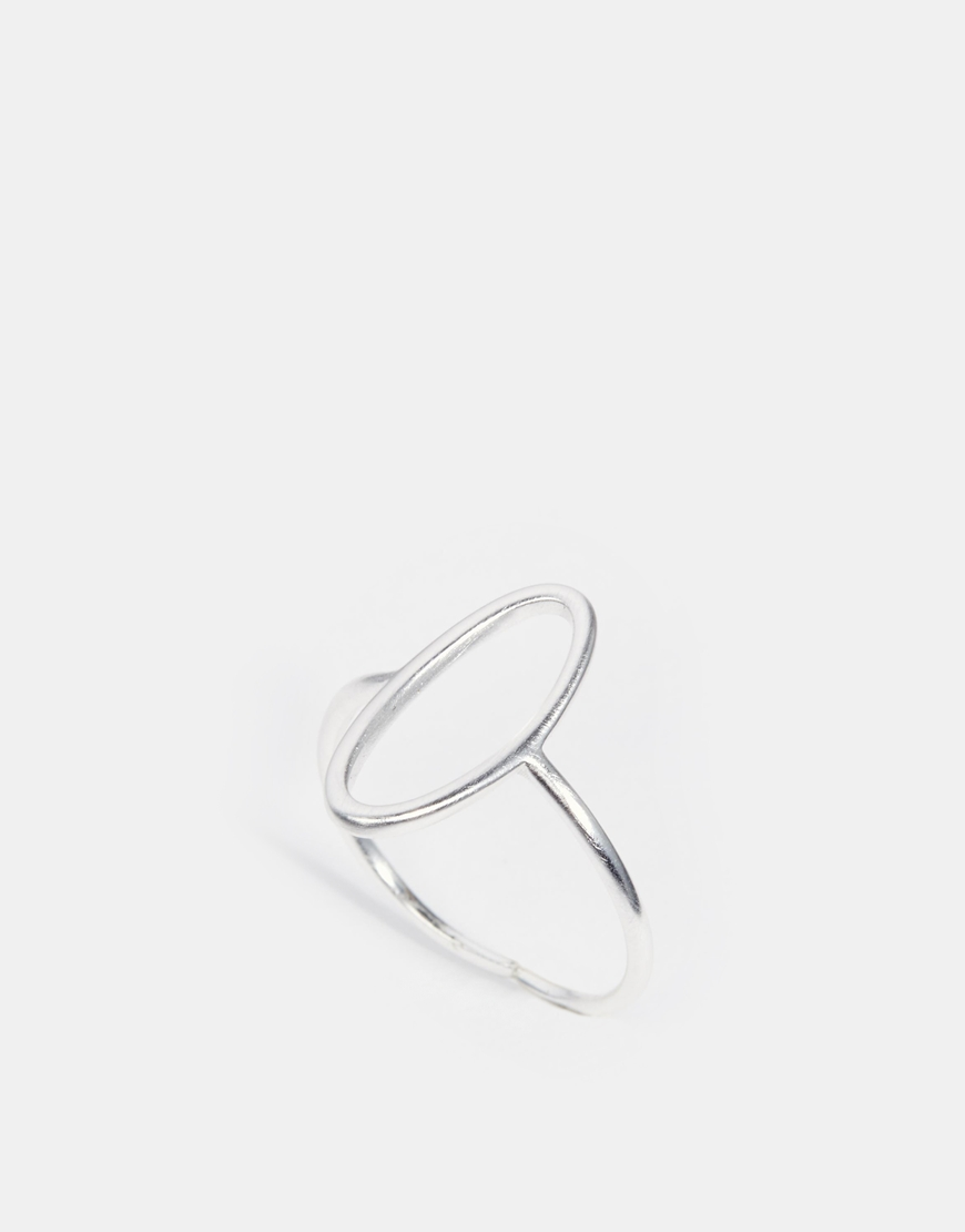 Fashion Shop Pilgrim Silver Plated Oval Cut Out Adjustable Ring