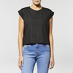 Fashion Shop - BACK DROP T-SHIRT COATED BLACK
