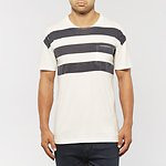Fashion Shop - EXPOSED STRIPE T-SHIRT CLOUD WHITE