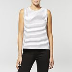 Fashion Shop - NO BRAINER STRIPE TANK WHITE/NAVY